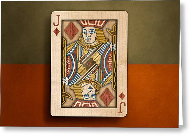 Jack Of Diamonds In Wood Greeting Card by YoPedro