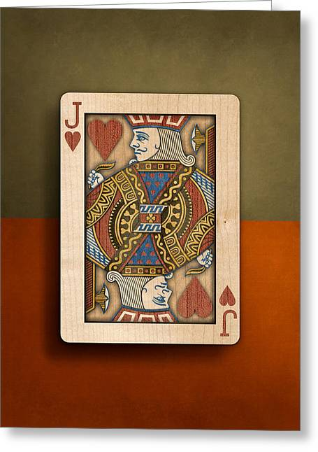 Jack Of Hearts In Wood Greeting Card by YoPedro