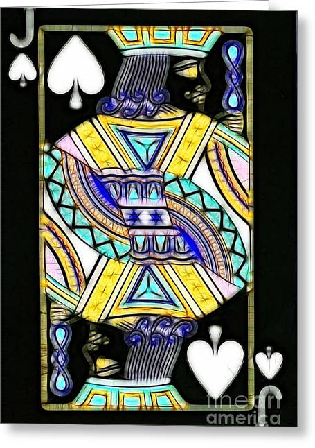 Deck Of Cards Greeting Cards - Jack of Spades - v2 Greeting Card by Wingsdomain Art and Photography