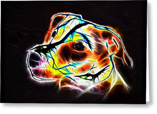 Pop Mixed Media Greeting Cards - Jack Russell Terrier Luminous Greeting Card by Alexey Bazhan