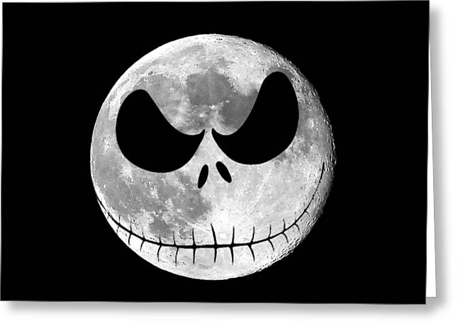 Hallows Eve Greeting Cards - Jack Skellington Moon .png Greeting Card by Al Powell Photography USA