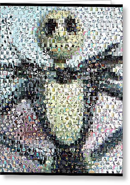 Mosaic Mixed Media Greeting Cards - Jack Skellington Mosaic Greeting Card by Paul Van Scott