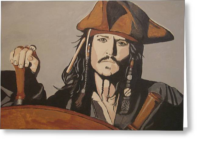 Jack Sparrow Greeting Card by Bob Gregory
