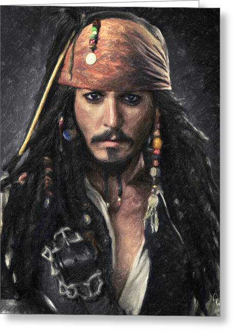 Keith Richards Paintings Greeting Cards - Jack Sparrow Greeting Card by Taylan Soyturk