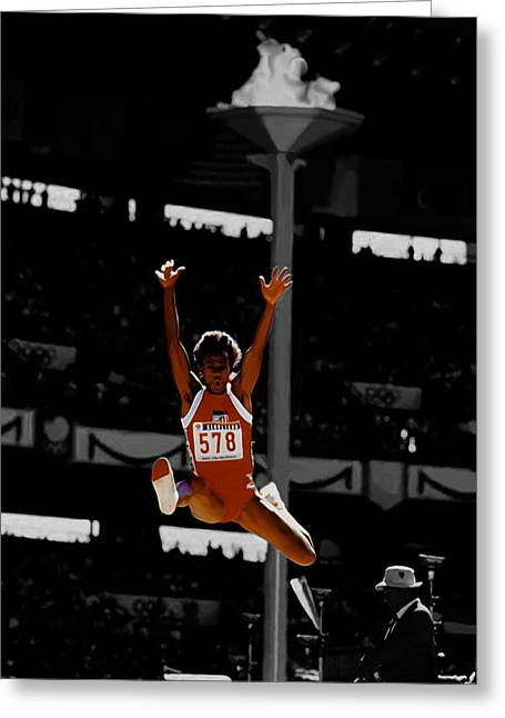 Jackie Joyner Kersee Greeting Card by Brian Reaves