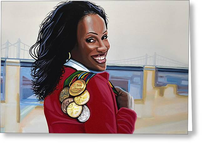 Famous Athletes Greeting Cards - Jackie Joyner Kersee Greeting Card by Paul Meijering