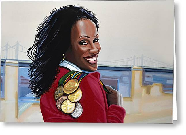 Sport Legends Greeting Cards - Jackie Joyner Kersee Greeting Card by Paul Meijering