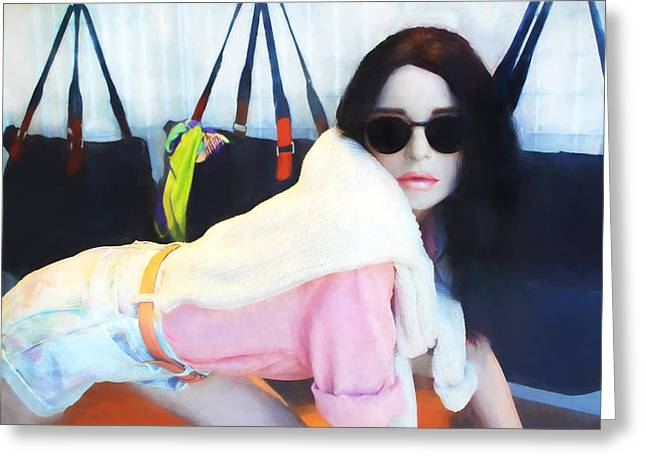 Store Fronts Greeting Cards - Jackie K - The Mannequin Greeting Card by Carlos Diaz