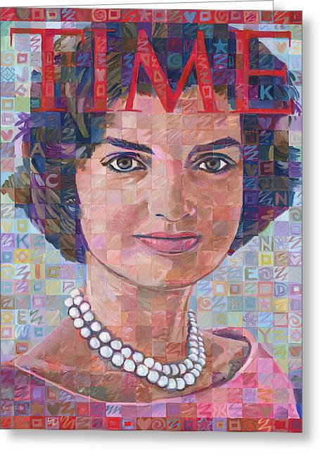Jackie Kennedy Onassis Greeting Cards - Jackie Kennedy Time Tribute Greeting Card by Randal Huiskens