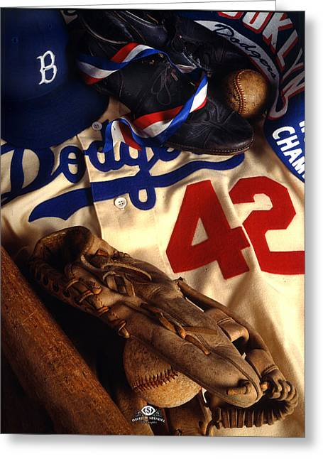 Baseball Uniform Greeting Cards - Jackie Robinson Greeting Card by David M Spindel
