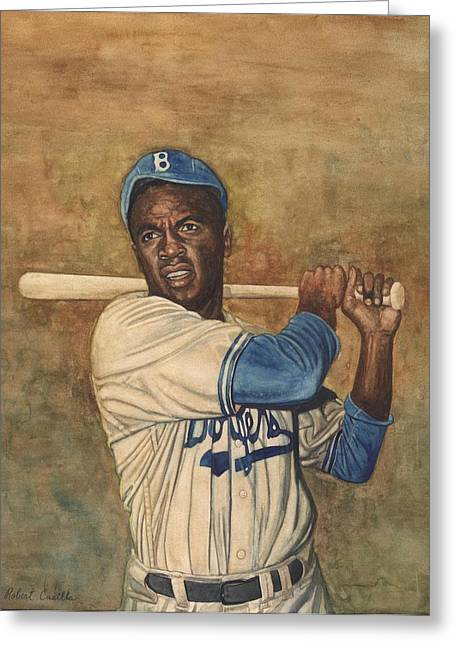 Baseball Paintings Greeting Cards - Jackie Robinson Greeting Card by Robert Casilla