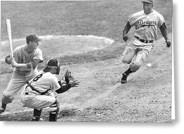 Jackie Robinson Stealing Home Yogi Berra Catcher In 1st Game 1955 World Series Greeting Card by David Lee Guss