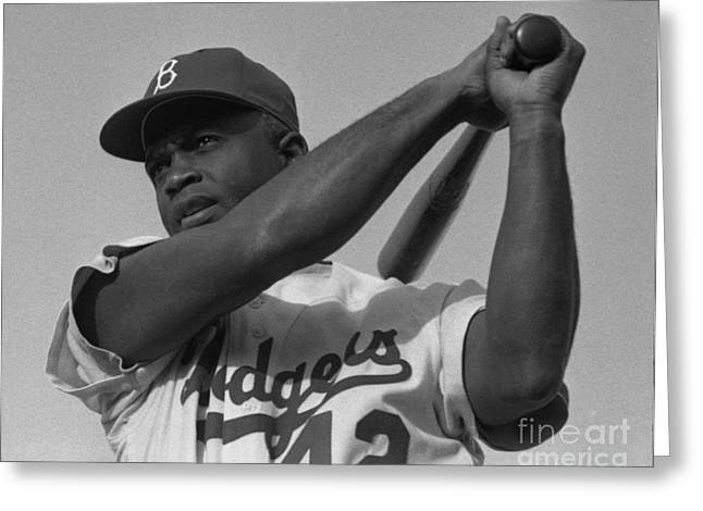 Baseball Paintings Greeting Cards - Jackie Robinson swinging a bat in Dodgers uniform Greeting Card by Celestial Images