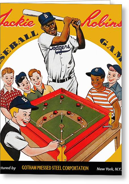 1955 World Series Greeting Cards - Jackie Robinson Vintage Baseball Game Greeting Card by Big 88 Artworks