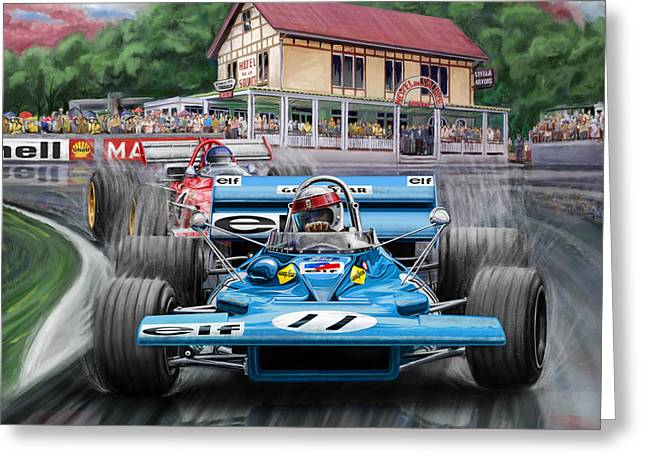Source Greeting Cards - Jackie Stewart at Spa in the Rain Greeting Card by David Kyte
