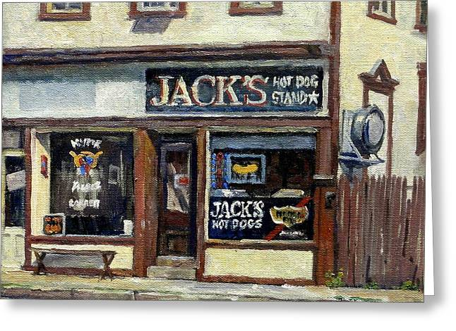 Abstract Realist Landscape Greeting Cards - Jacks Hot Dogs North Adams Greeting Card by Thor Wickstrom