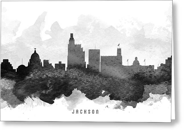 Jackson Greeting Cards - Jackson Cityscape 11 Greeting Card by Aged Pixel
