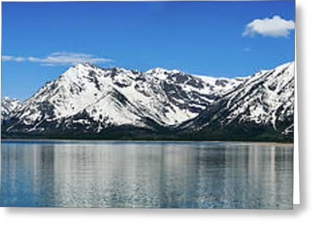 Tetons Greeting Cards - Jackson Lake Teton Panorama Greeting Card by Greg Norrell