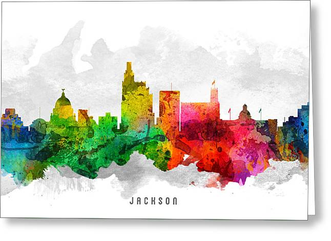 Jackson Greeting Cards - Jackson Mississippi Cityscape 12 Greeting Card by Aged Pixel