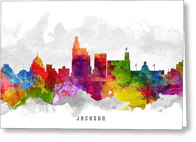 Jackson Greeting Cards - Jackson Mississippi Cityscape 13 Greeting Card by Aged Pixel