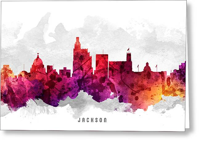 Jackson Greeting Cards - Jackson Mississippi Cityscape 14 Greeting Card by Aged Pixel