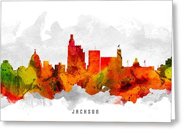 Jackson Greeting Cards - Jackson Mississippi Cityscape 15 Greeting Card by Aged Pixel