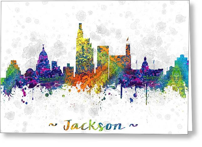 Jackson Greeting Cards - Jackson Mississippi color 03SQ Greeting Card by Aged Pixel