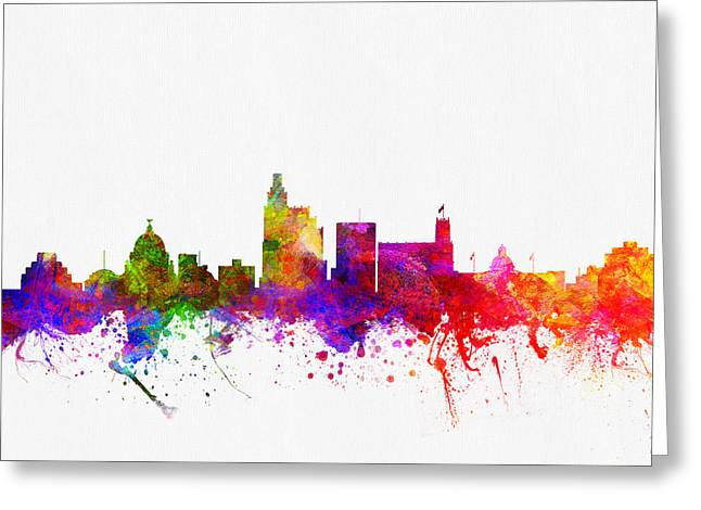Jackson Greeting Cards - Jackson Mississippi skyline color02 Greeting Card by Aged Pixel