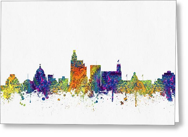 Jackson Greeting Cards - Jackson Mississippi Skyline color03 Greeting Card by Aged Pixel