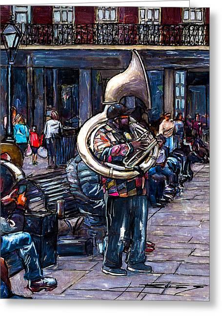 Jackson Square Bass Horn Player Greeting Card by John Boles
