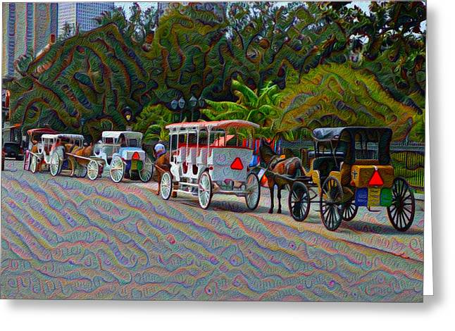 Horse Buggy Digital Art Greeting Cards - Jackson Square Horse and Buggies Greeting Card by Bill Cannon