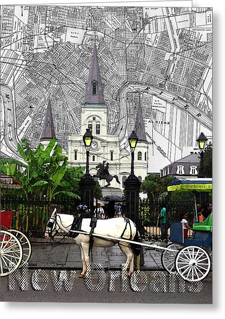 The Horse Greeting Cards - Jackson Square Map Greeting Card by Daysi Acevedo