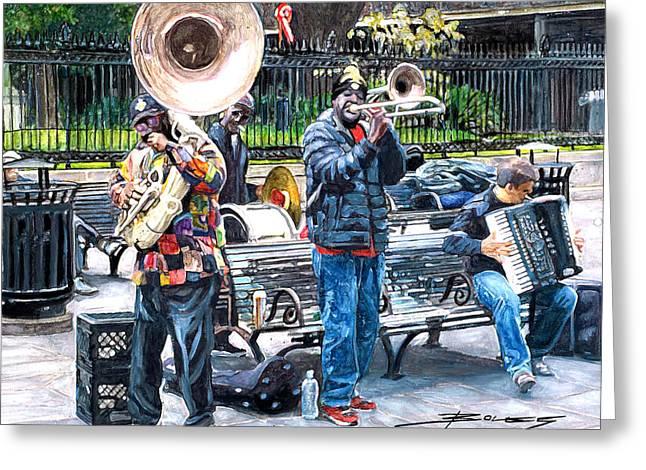 Jackson Square Musicians Greeting Card by John Boles