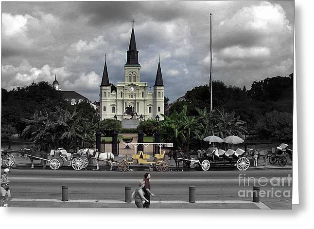 Hansom Cab Greeting Cards - Jackson Square New Orleans Greeting Card by Don Columbus