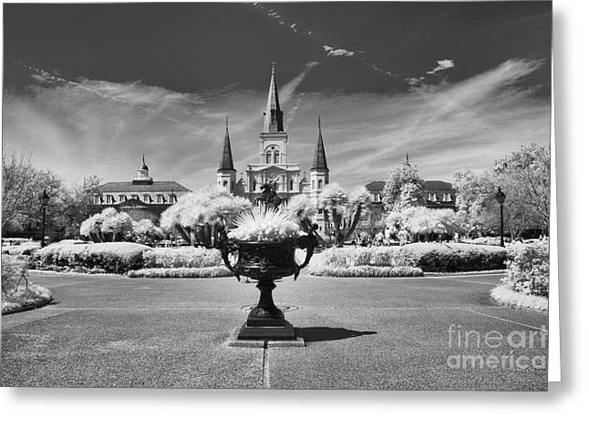 Steeple Mixed Media Greeting Cards - Jackson Square New Orleans Greeting Card by Vera Icon Fine Art