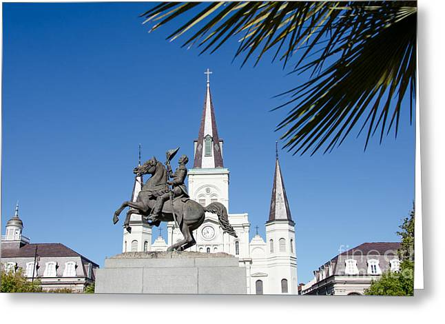 Greeting Cards - Jackson Square - St Louis Cathedral - New Orleans Greeting Card by Debra Martz