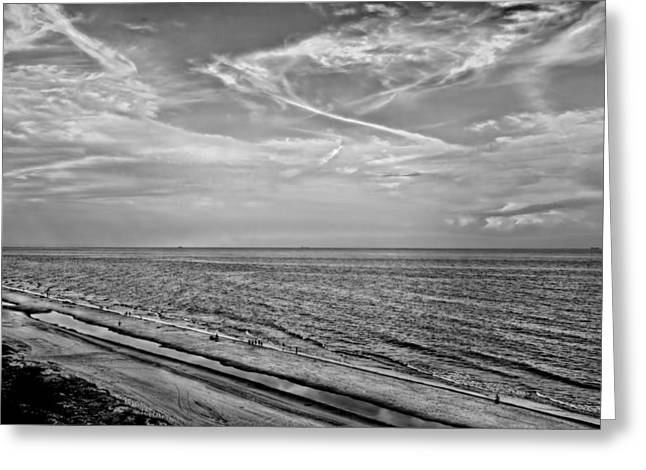 Jacksonville Greeting Cards - Jacksonville Beach in Black and White Greeting Card by Kay Brewer