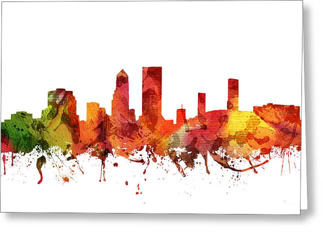 Jacksonville Florida Greeting Cards - Jacksonville Cityscape 04 Greeting Card by Aged Pixel