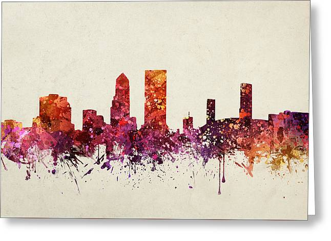 Jacksonville Cityscape 09 Greeting Card by Aged Pixel
