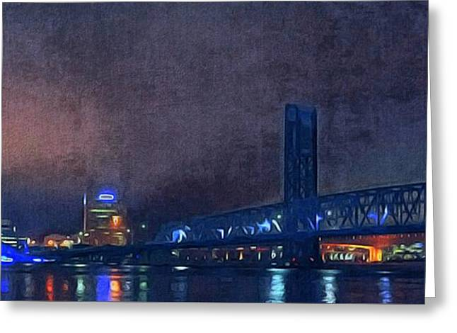 Jacksonville Greeting Cards - Jacksonville Florida at night Greeting Card by Paul  Wilford