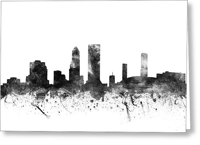 Jacksonville Greeting Cards - Jacksonville Florida Cityscape 02BW Greeting Card by Aged Pixel