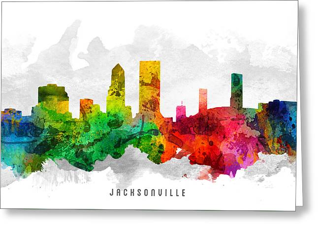Jacksonville Greeting Cards - Jacksonville Florida Cityscape 12 Greeting Card by Aged Pixel