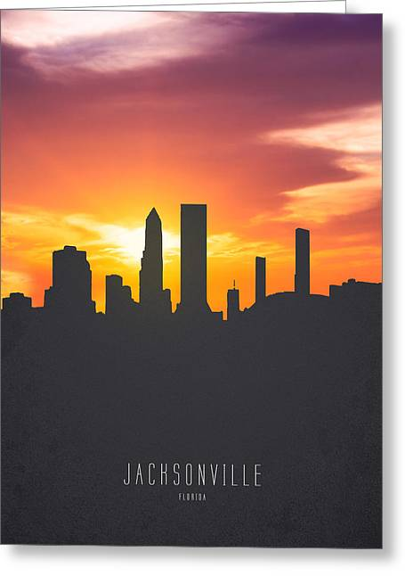 Jacksonville Florida Sunset Skyline 01 Greeting Card by Aged Pixel