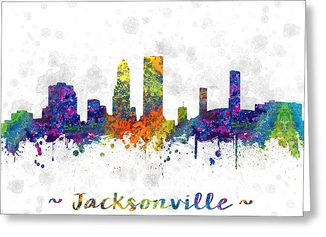Jacksonville Greeting Cards - Jacksonville Florida Skyline color 03SQ Greeting Card by Aged Pixel