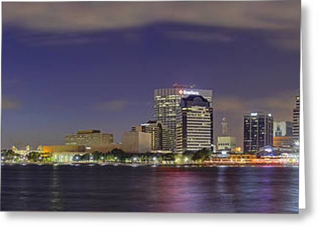 Jacksonville Greeting Cards - Jacksonville Florida Skyline - Panoramic - City Greeting Card by Jason Politte