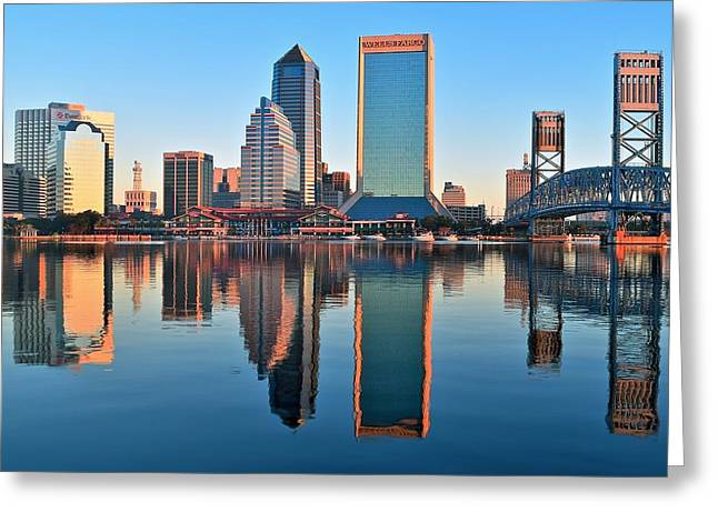 Jacksonville Greeting Cards - Jacksonville Mirror Image Greeting Card by Frozen in Time Fine Art Photography