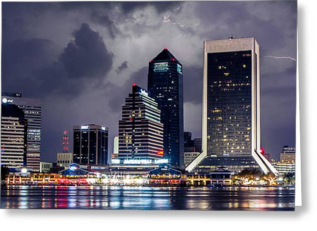 Jacksonville Greeting Cards - Jacksonville on a Stormy Evening Greeting Card by Jeff Turpin