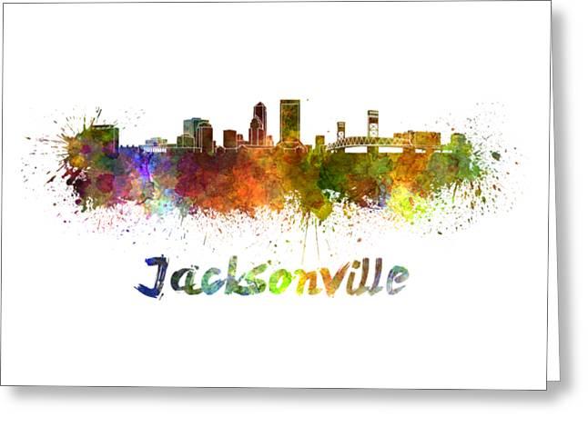 Jacksonville Skyline Greeting Cards - Jacksonville skyline in watercolor Greeting Card by Pablo Romero