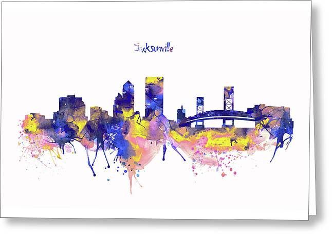 Jacksonville Skyline Silhouette Greeting Card by Marian Voicu