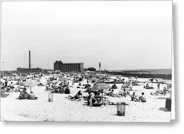 York Beach Greeting Cards - Jacob Riis Park Beach Greeting Card by Underwood Archives